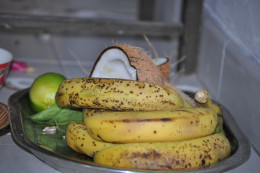 Platter of fruits, beetel leaves Naivedya.