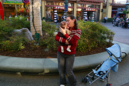 The author with her four month old son in Downtown Disney.