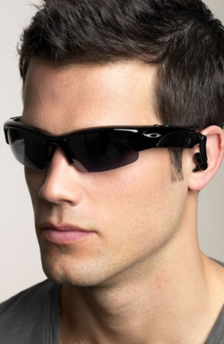 Sporty sunglasses look great for a guy with a long and slim face.