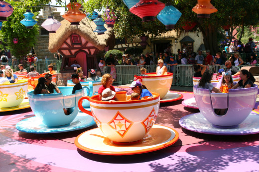 Tamer rides like the teacups in Fantasyland are appropriate for all ages.