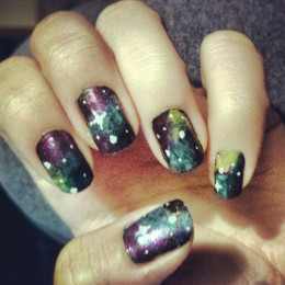 A little messy but it was my first try doing galaxy nails