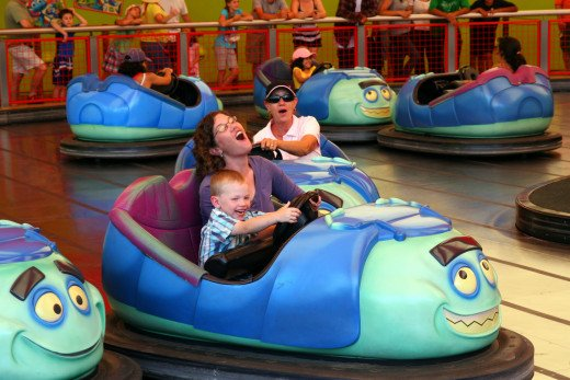 Riding the bumper cars (Tuck and Roll's Buggies) in California Adventure.