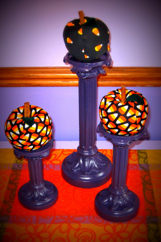 Re-purposed purple candle holders.