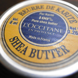 100% Shea Butter, Made in France.  France is probably where butter met tin, but there's probably not a hidden shea butter plantation in Champagne.
