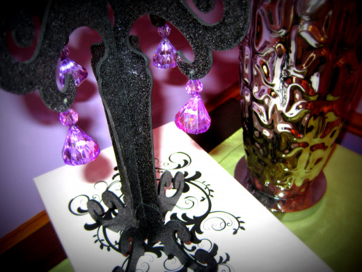 Black Sparkle Tree with Purple Crystals
