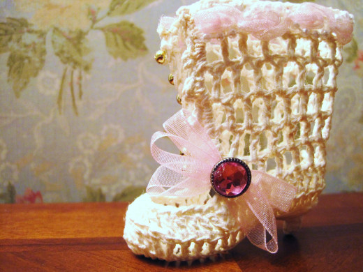 "Victorian Style Vintage Crochet Boot. With heel, the finished boot is 2"" x 3""."