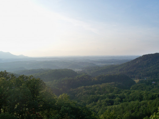 View from the upper deck of the cabin over looking Pigeon Forge.