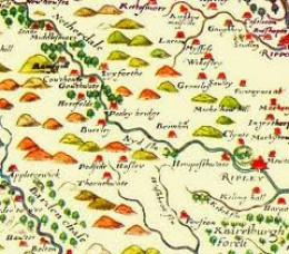 Tudor mapmaker Saxton's 1577 map of Upper Nidderdale - written as 'Netherdale' but definitely anything but 'nether'
