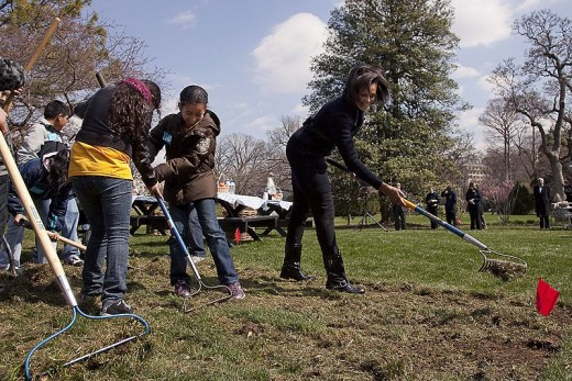 First Lady Michelle Obama working on the White House garden with a few kids