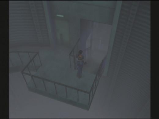 Screen shot of Claire exploring Umbrella's Antarctic facility in Resident Evil Code: Veronica