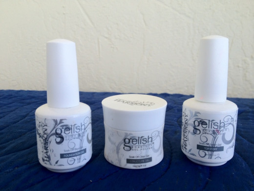 The Gelish system includes Foundation Gel, Sculpture Gel and Top It Off.