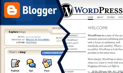 Blogger versus wordpress.  Wordpress is better than blogspot.
