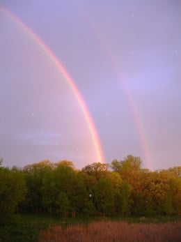 """""""It shall be, when I bring a cloud over the earth, that the rainbow shall be seen in the cloud; and I will remember My covenant which is between Me and you.. """"~ Genesis 9:14-15 My Backyard looking to the west"""