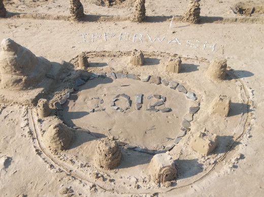 Sand castle built by the family at Ipperwash Beach