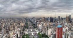 Arial view of July 9 Avenue, Buenos Aires