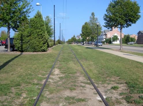 Trolley tracks in Kenosha, WI.
