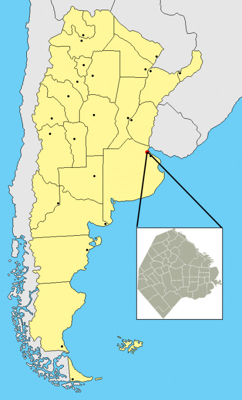 Map location of Buenos Aires, Argentina