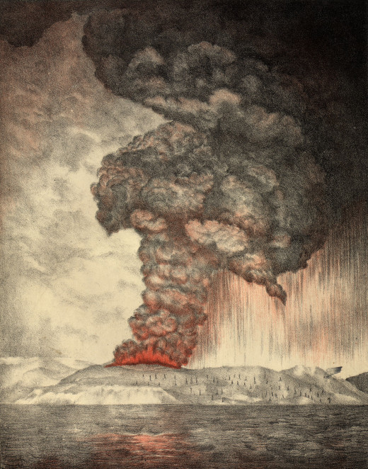 In 535 AD and again in 1883, Krakatoa exploded. In the first case, it was responsible for the commencement of the dark ages and other world shaking changes recorded all around the world at the time.