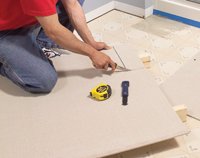 Cutting the backer board