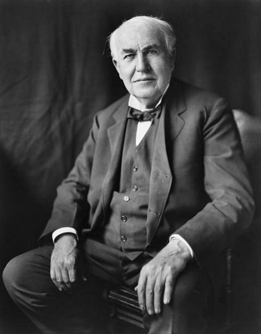 """Thomas Alva Edison, three-quarter length portrait, seated, facing front"" circa 1922"