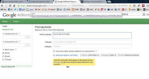 Google's free keyword tool
