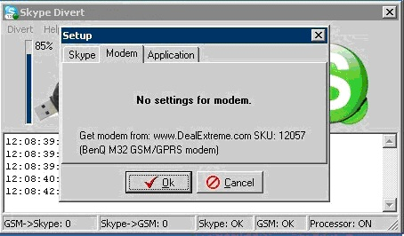 Modem settings