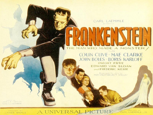 "A movie poster for the classic 1931 monster movie ""Frankenstein."""