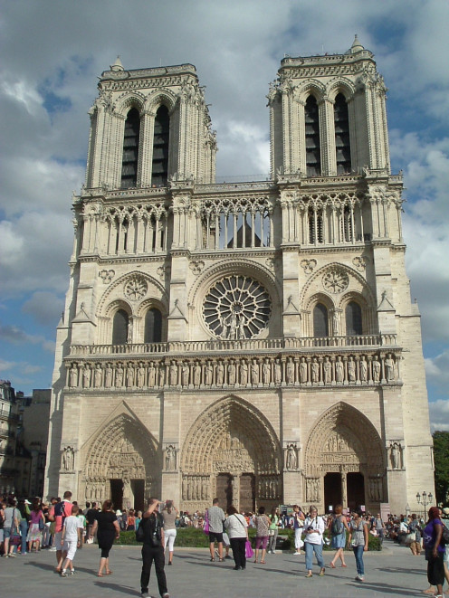 The beautiful facade of Notre Dame Cathedral