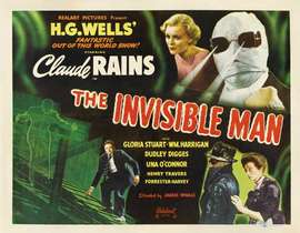 "A movie poster for the classic 1933 monster movie ""The Invisible Man."""