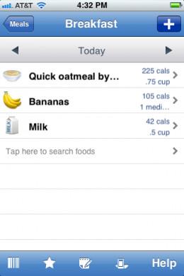 Food Diary on an iPhone App