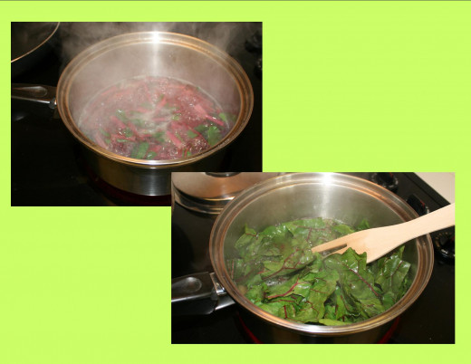 Boil the stems for 15 minutes, add the green leaves, bring back to a boil , and boil another 20 minutes.