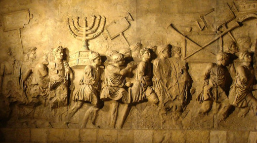 The Menorah of the 2nd Temple being carried away by Rome, 70 AD.