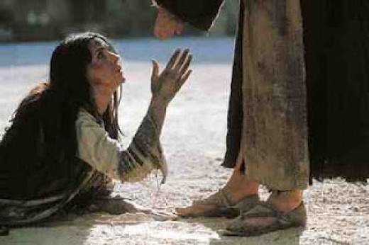 Jesus forgives the woman of adultery.
