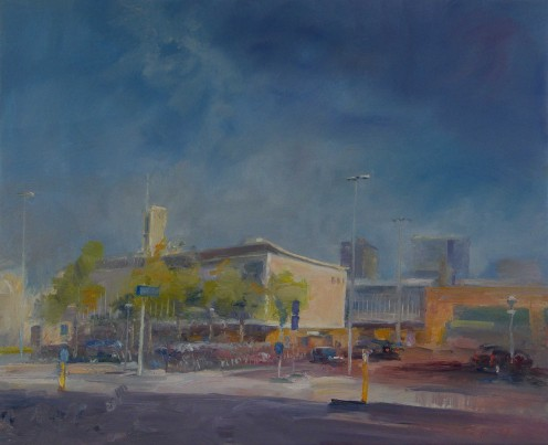 Eindhoven Station by Peter Thijs, oil on linen