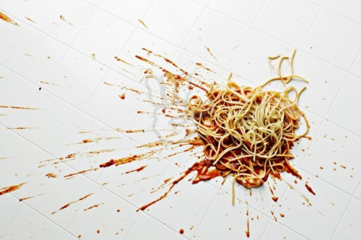 Splat! there goes my spaghetti and meatballs...and my shame...