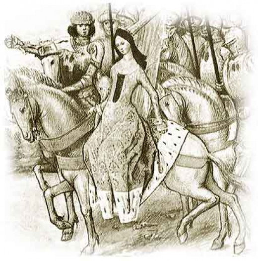 An image of Queen Isabella from a medieval chronicle