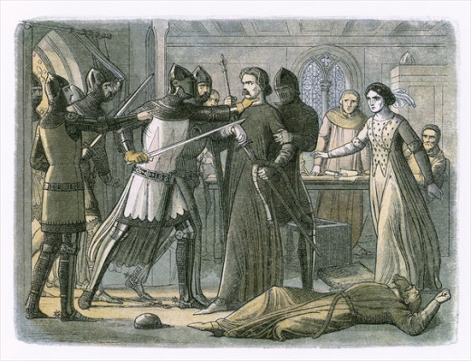 A 19th century engraving depicting Queen Isabella's lover, Roger Mortimer, being seized by her son, King Edward III