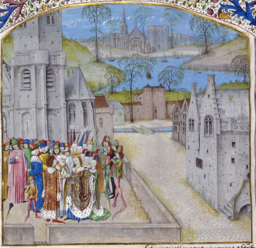 A depiction of the marriage of Edward II of England and Isabella of France