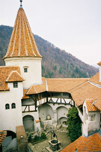 A courtyard view of Romania's Bran Castle.