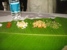 THESE ITEMS MUST BE SERVED ON THE TOP OF THE PLANTAIN LEFT FROM LEFT TO RIGHT.