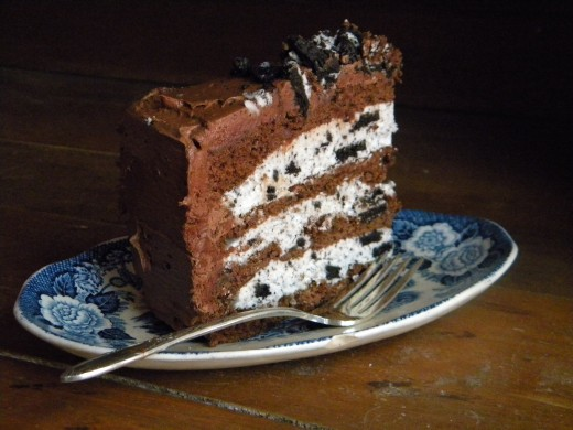 Mix up the cake filling and frosting for more variety. This Devil's Food cake has cookies and cream filling with chocolate frosting.