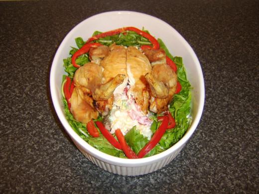 Chicken is carefully rebuilt around the potato salad