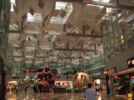 Singapore-Changi Terminal 3 Airside area with duty free shopping and entertainment galore