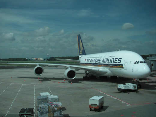 Singapore Airlines flagship aircraft, trhe spectacular Airbus A380
