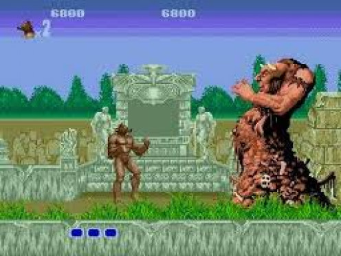 Altered Beast was made for the Sega Genesis video game console. Your a warrior who turns to a fireball shooting werewolf. This game came packaged with the Sega Genesis gaming system.