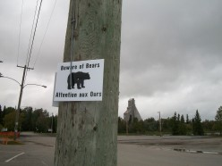 Former McIntyre Mine, Schumacher, Timmins, with 'Beware of Bears' sign