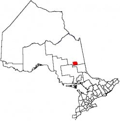 Map location of Timmins, Ontario