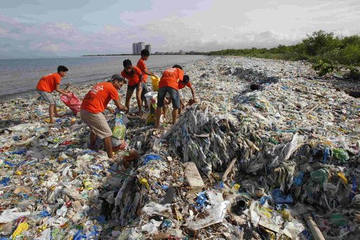 Student volunteers collect garbage washed ashore by the typhoon surge brought on by monsoon rains during a cleanup drive at a bay in Paranaque city, metro Manila August 25, 2012. (Romeo Ranoco/Reuters)