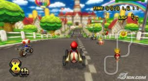 Mario Kart was on the Nintendo Game Cube and it was one of the consoles best selling video games.