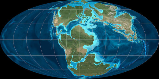 Earth as it was in the Late Jurassic, just as Pangaea was beginning to break apart. The Atlantic Ocean began to form at this point.